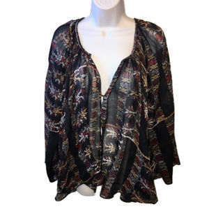 Free People FP One Boho Tribal Peasant Top Med